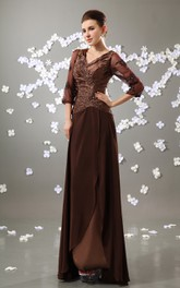 V-Neck 3-4 Sleeve Chiffon Floor-Length Dress With Ruched Top