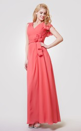 V-neck Ruched A-line Long Chiffon Dress With Flower