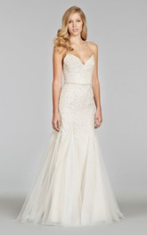 Shimmering Spaghetti Strap Tulle Gown With Sequin Embroidered Bodice