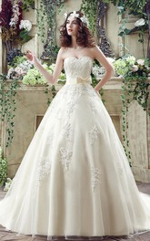 Newest Sweetheart Lace Appliques 2018 Wedding Dress Bowknot Sweep Train