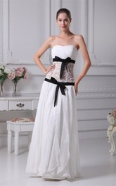 Sweetheart Draped Long Criss-Cross Illusion Waist and Dress With Bow