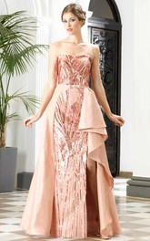 A-Line Floor-Length Strapless Sleeveless Sequins Split Front Detachable Train Dress