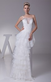 Single-Strap Maxi Tiered Appliques and Dress With Beading