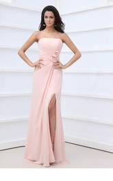 Chic Scalloped Neckline Chiffon Gown With Flower and Side Split