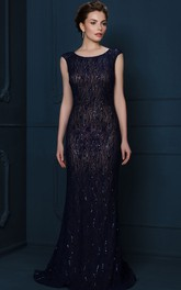 Sheath Sequined Cap-Sleeve Scoop-Neck Long Evening Dress