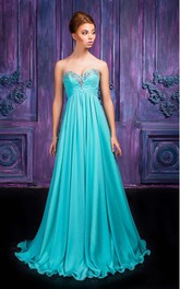 A-line Floor-length Sweetheart Sleeveless Chiffon Zipper Dress