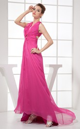 Plunged High-Low Chiffon Sleeveless Dress With Central Ruching