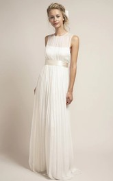 Ethereal Tulle Jewel-Neck Sleeveless Keyhole Wedding Dress
