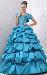 Taffeta Sweetheart Ball Gown With Pick-Up Ruffles and Beading