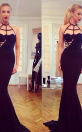 Specila Design Sexy Black Halter Mermaid Prom Gown Sweep Train Women Evening Dresses