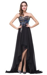 Newest Black Chiffon Peacock 2018 Prom Dress Hi-Lo Sweep Train