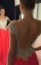 Gorgeous Crystal Open Back Evening Dress 2018 Cap Sleeve Long Chiffon Prom Gown