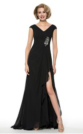 Elegant Chiffon V-Neck Cap Sleeve Long Dress with Beading