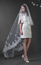Pencil Mini Bateau Cap-Sleeve Illusion Lace Dress With Appliques And Waist Jewellery