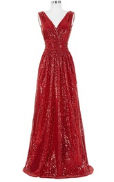 Stunning Sleeveless V-neck Sequined Floor-length Dress