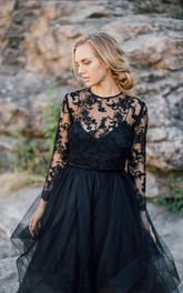 A-Line  Black Wedding Dress Scoop Long Sleeve Button Illusion Back With Appliques Lace Pleats Sash/Ribbon