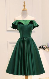 Off-the-shoulder Pleated Knee-length Short Satin Dress