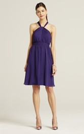 Chiffon Halter-Neck A-Line Sassy Short Dress