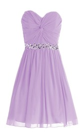 Delicate Sweetheart Drapped Short Dress With Sequined Band