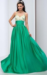 Spaghetti Straps Criss-cross Beading Long Prom Dress