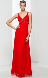 Straps Beading Red Prom Dress