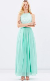 Ankle-Length Appliqued Sleeveless Scoop Neck Chiffon Bridesmaid Dress