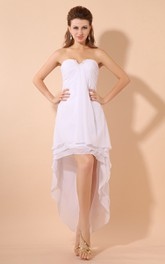 High-Low Sweetheart Chiffon Dress With Pleating