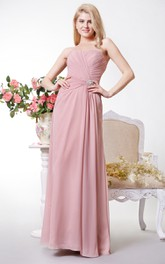 Sexy Strapless A-line Chiffon Long Dress With Beadings