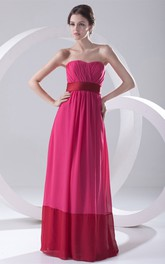 Strapless Long Chiffon Ruching and Dress With Pleats