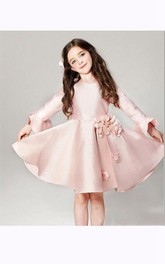 Flower Girl Scoop Neck Bell Sleeve A-line Satin Short Dress