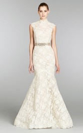 Noble Cap Sleeve Lace Mermaid Gown With Crystal Belt and Keyhole Back