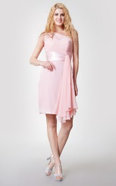 One Shoulder Draped Sheath Chiffon Dress With Satin Belt
