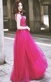 Bateau Neck Appliques Beading Backless Prom Dress
