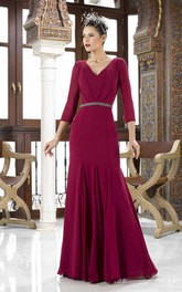 3-4 Sleeve V-Neck Jeweled Chiffon Mother Of The Bride Dress