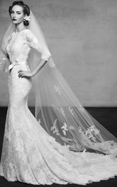 Floor-Length High Neck 3-4-Sleeve Appliqued Lace Wedding Dress With Court Train
