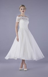Bateau Illusion Lace Ankle Length Vintage Tulle Wedding Dress With Buttons