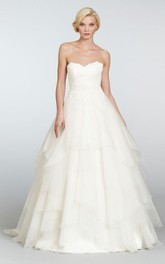 Classic Strapless Tiered Organza Ball Gown With Lace Bodice