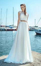 Ethereal Two-piece Jewel Neck Cap-sleeve Wedding Dress with Applique