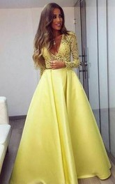 Stunning Yellow Long Sleeve 2018 Prom Dress V-Neck Lace