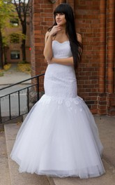 Mermaid Sweetheart Lace Gown With Pleated Tulle Skirt