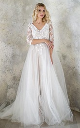 V-Neck 3-4 Length Sleeve Tulle Sequins Satin Beaded Lace Wedding Dress