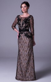 Sheath Long 3-4-Sleeve Appliqued Scoop-Neck Sequins Prom Dress With Beading And Bow