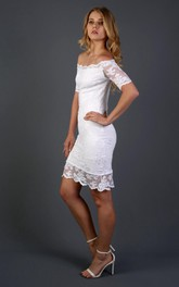 Sheath Off-The-Shoulder Short Sleeve Lace Dress With Detachable Tulle Skirt