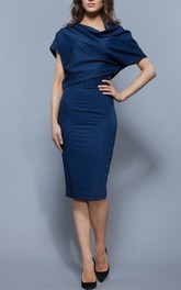 Oversize Top Sheath Jersey Knee Length Dress With Belt Deep Blue