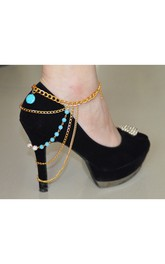 Western Style Fashion Turquoise Colored Beads Alloy Chain Anklet