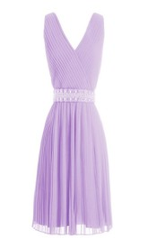 Simple V-neck Pleated A-line Gown With Beaded Band