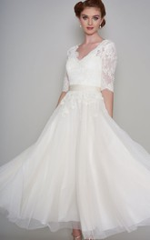Simple Lace and Organza Half Sleeve Ankle Length Bridal Gown with applique