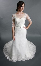 Half Sleeve Mermaid Lace Dress With Jewel Neck and Illusion Back
