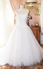 Spaghetti Straps A-Line Wedding Gown With Beaded Lace Bodice