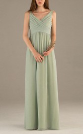 Sleeveless V Neck V Back Empire Pleated A-line Chiffon Long Dress